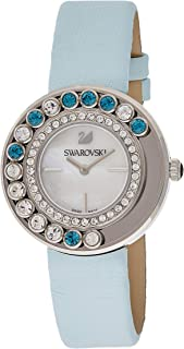 Swarovski Women's Quartz Watch, Analog Display and Leather Strap 1187024, Silver Band