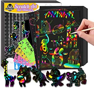 POKONBOY 50 Piece Scratch Art Kit Set Colorful Paper Art for Kids Ages 8-12, Magic Scrtach Arts and Crafts for Kids Activi...
