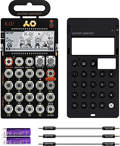 """2021 Teenage Engineering PO-33 Pocket high quality Operator KO Sampler/Sequencer Bundle with CA-X Silicone Case, Blucoil outlet online sale 3-Pack of 7"""" Audio Aux Cables, and 2 AAA Batteries outlet sale"""
