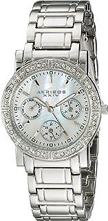 Akribos XXIV Women's Diamond Multifunction Watch - Mother-of-Pearl Dial with Crystal Bezel on Stainless Steel Bracelet - AK530
