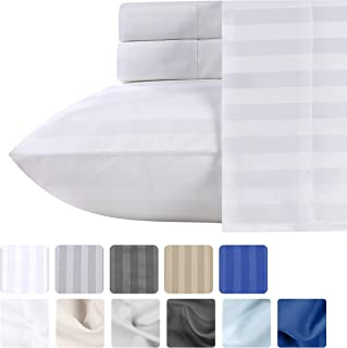 Premium Quality 500 Thread Count 100% Pure Cotton Sheets - 4 Piece White Color King Size Dobby Damask Stripe Long-Staple Cotton Sheet for Bed, Fits Mattress Upto 18'' Deep Pocket Sateen Weave Set