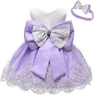 IZKIZF Baby Girls Christening Wedding Birthday Pageant Lace Dress Bowknot Flower Dresses Baptism Tutu Gown 0-24M