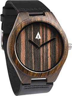 Mens Black Ebony Wooden Watch with Genuine Black Leather Strap Quartz.