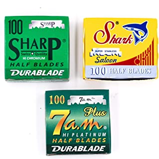 Straight Edge Barber Razor/Shavette Razor Blade Variety Pack - 300 Blades - 100 Each of Shark, Sharp & 7 a.m. Half Blades for Shavette and Professsional Replacable Blade Barber Razors