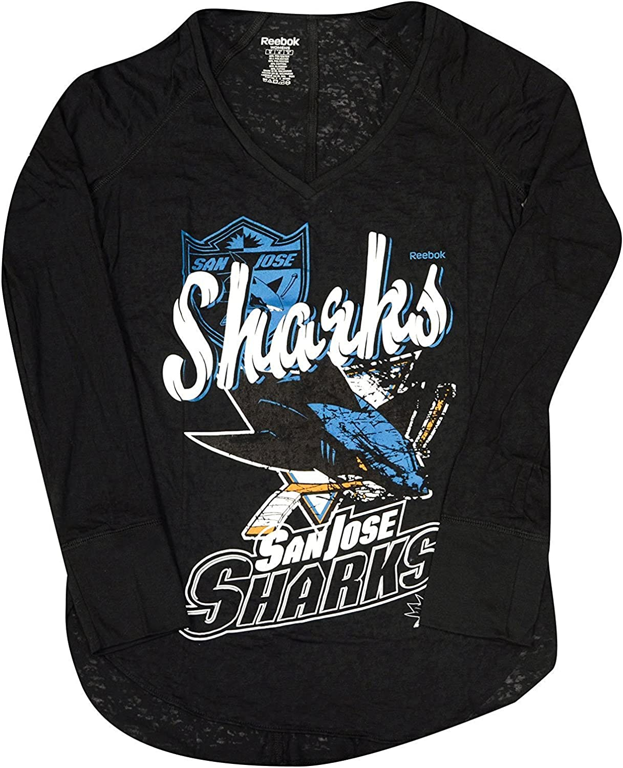 San Jose Sharks Primary Logo Collage Burnout Long Sleeve Tee