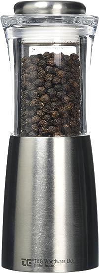 Acciaio Inox e Acrilico, 200 mm T /& G CrushGrind Pepper Mill Picco a Forma di