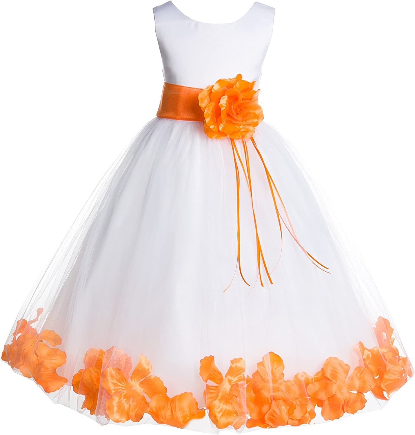 Wedding Pageant Floral Rose Petals White Tulle Flower Girl Dress Toddler 007