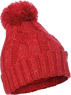 Emmalise Women Chunky Soft Strech Cable Knit Pom Pom Beanie Sherpa Fleece Lined