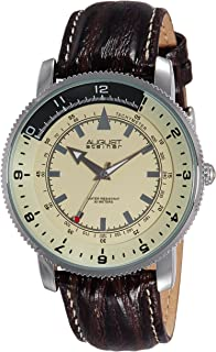 August Steiner Men's Coin Edge Watch - Monochrome Two Tone Tachymeter Dial Leather Strap