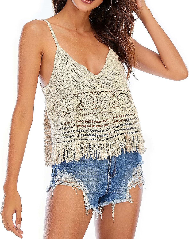 CGYY Women's Summer Crochet Tank Tops Casual Sleeveless V Neck Hollow Out Vest Cami Shirt