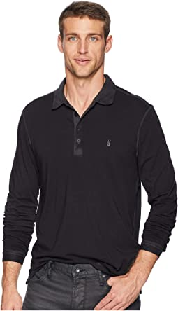 Long Sleeve Polo w/ Peace Sign Embroidery