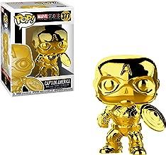 Funko Captain America [Chrome Color]: Marvel Stud10s - The First Ten Years x POP! Marvel Vinyl Figure & 1 PET Plastic Graphical Protector Bundle [#377 / 33515 - B]
