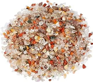 SUNYIK Mixed Stone Tumbled Chips Stone Crushed Crystal Quartz Pieces Irregular Shaped Stones 1pound(About 460 Gram)