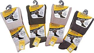 Calcetines diabéticos para hombre, 99 % algodón, no elásticos, para hombre 6 pares de colores variados. ^