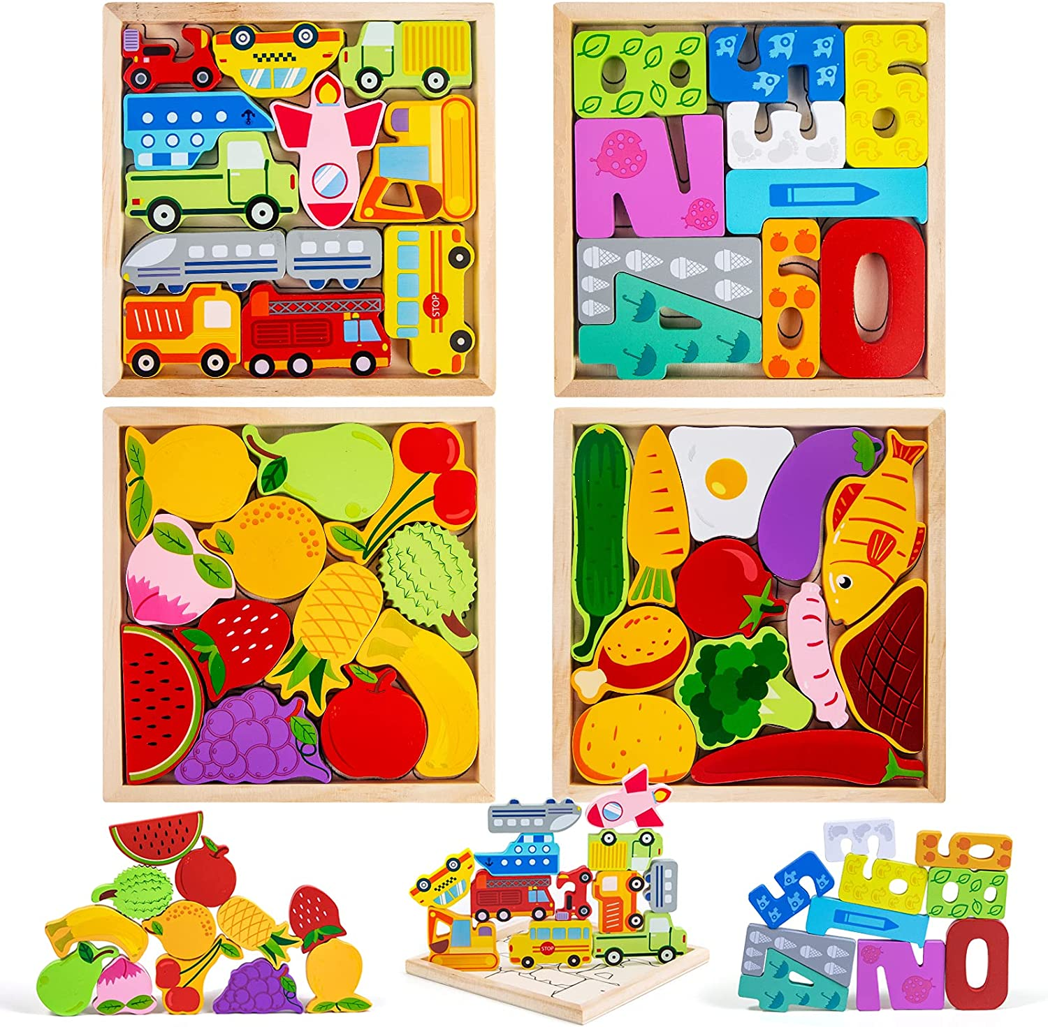 ANGSTEEP Wooden Puzzles for Toddlers 1-3 Year Old, Baby Early Learning Educational Toys, Birthday Gifts for Boys & Girls (4 Pack)