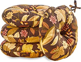 South Pine Porch AM6816S4-SKYRUSSET Timberland Floral 15-inch Round Outdoor Bistro Chair Cushion, Set of 4, Brown