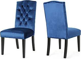 Christopher Knight Home 304054 Joyce Traditional Crown Top Navy Blue Velvet Dining Chairs (Set of 2),