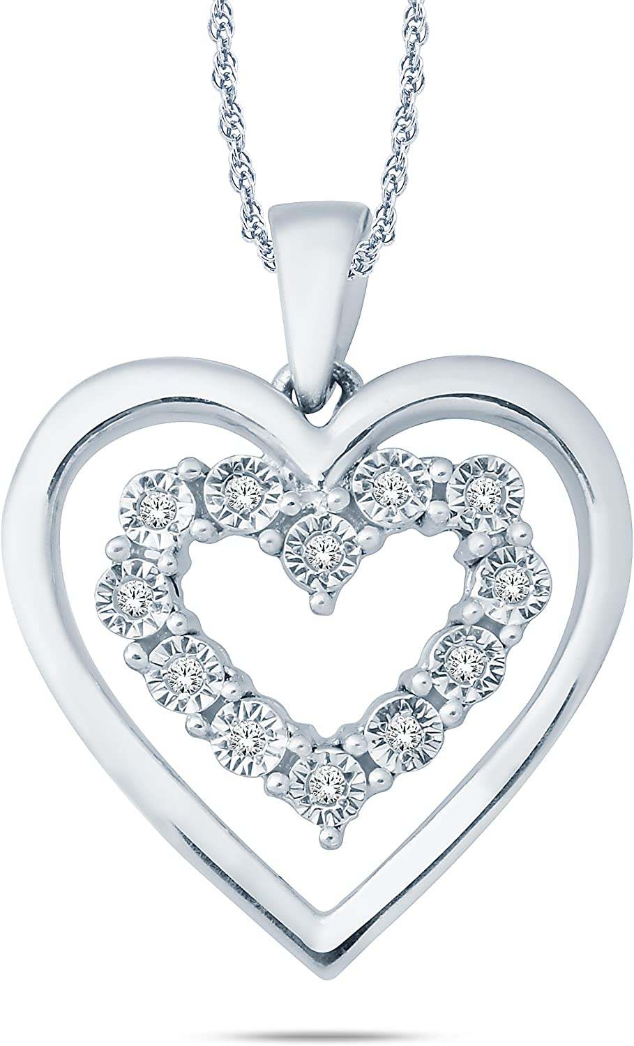 1 20 CTTW Sterling Silver Double Heart Miracle Plate Diamond Pendant Necklace (IJ, I2I3) 18
