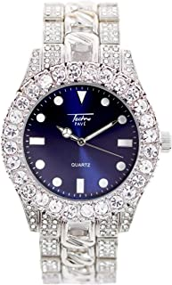 Mens 44mm Solitaire Bezel and Blue Dial Silver Watch with Metal Band Strap (Resizable Links) - Quartz Movement