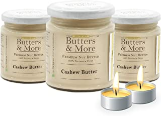 Butters & More Vegan All Natural Cashew Butter (Pack of 3x200G) Creamy Unsweetened Nut Butter. with a Surprise Diwali Gift!