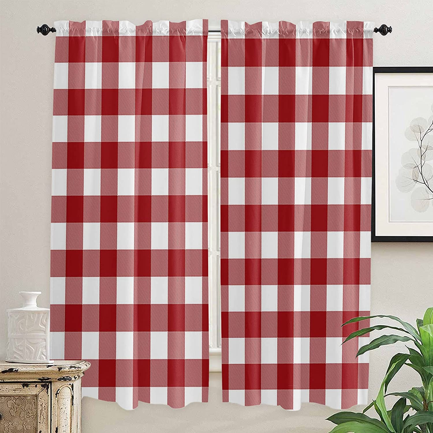 Country Style Christmas New Free Shipping Lattice Kitchen Sacramento Mall Curtains Length Inch 72