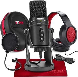 Samson G-Track Pro Professional USB Condenser Microphone with Samson Headphones and Hardbody Headphone Case Accessory Bundle