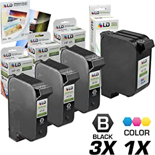 LD Remanufactured Ink Cartridge Replacements for HP 45 & HP 78 (2 Black, 2 Color, 4-Pack)