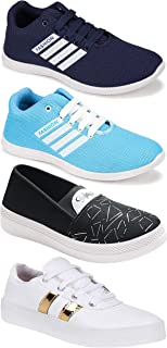 Camfoot Women's (5053-5028-993-5049) Multicolor Casual Sports Running Shoes (Set of 4 Pair)