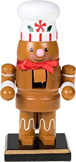 Clever Creations Traditional Christmas Chubby Gingerbread Man Nutcracker Wearing White Chef's Hat | 6