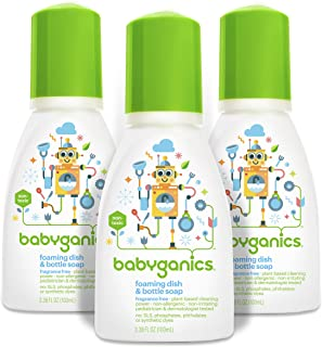 Babyganics Foaming Dish and Bottle Soap, Fragrance Free, On-The-Go 100ml, 3.38 oz. (Pack of 3), Packaging May Vary
