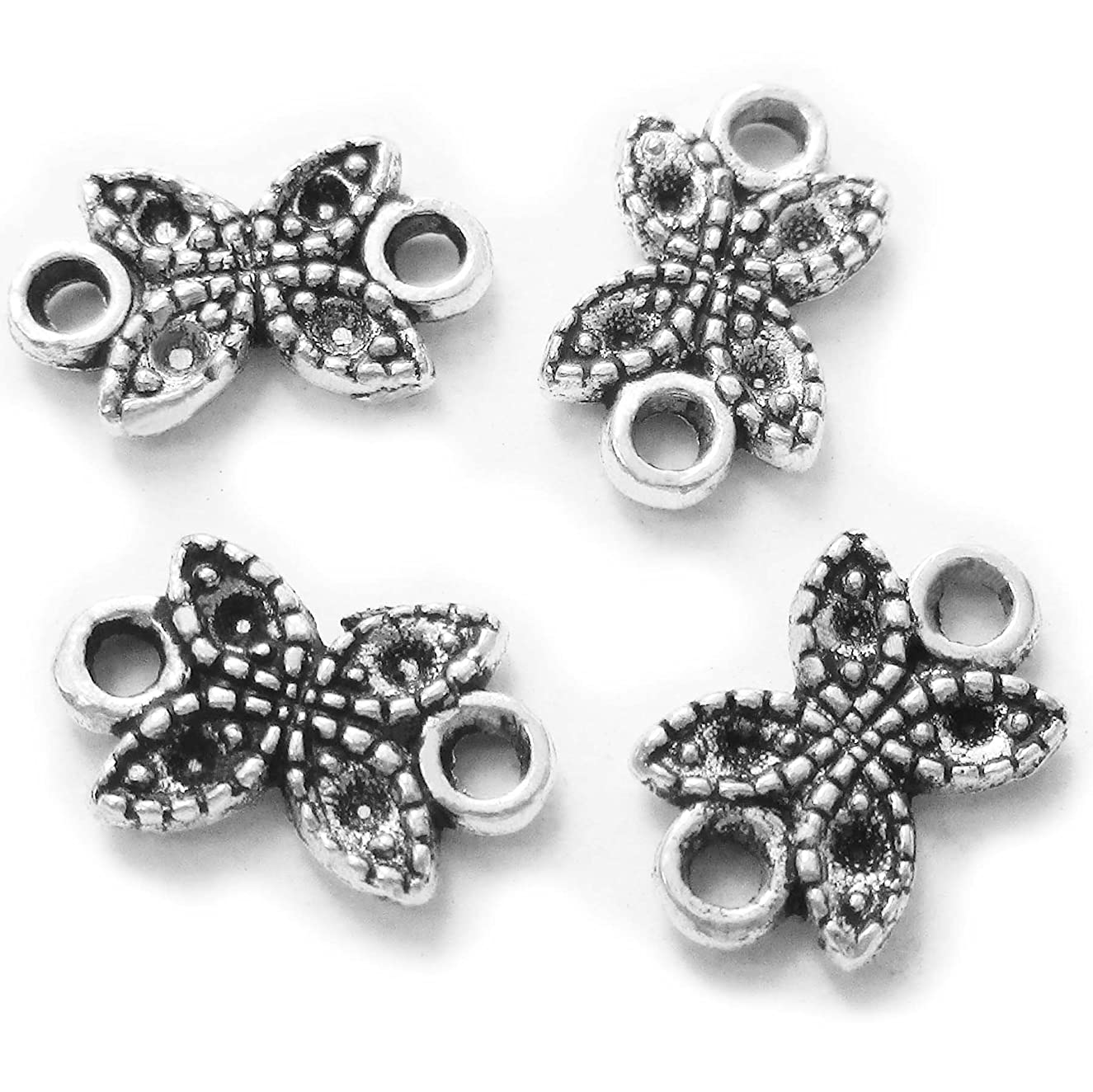 Heather's cf 180 Pieces Silver Tone 4 petals Spacer Connector Findings (2 Holes)Jewelry Making 11X7mm