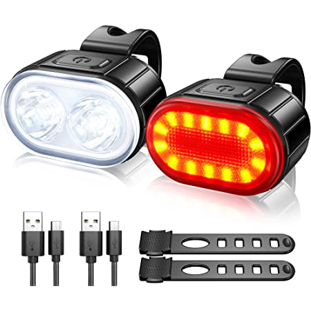 Bike Lights Set, USB Rechargeable Bicycle Lights, Ultra Bright LED Cycle Light Front and Back Rear Light, IPX5 Waterproof Mountain Road Cycling Headlight and Taillight Set for Men Women Kids 4/6 Modes