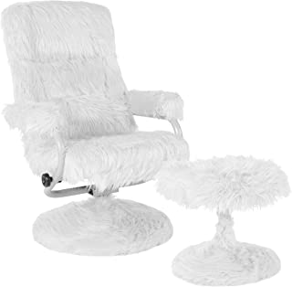 My Friendly Office MFO Delilah Collection Contemporary Multi-Position Recliner and Ottoman in White Fur