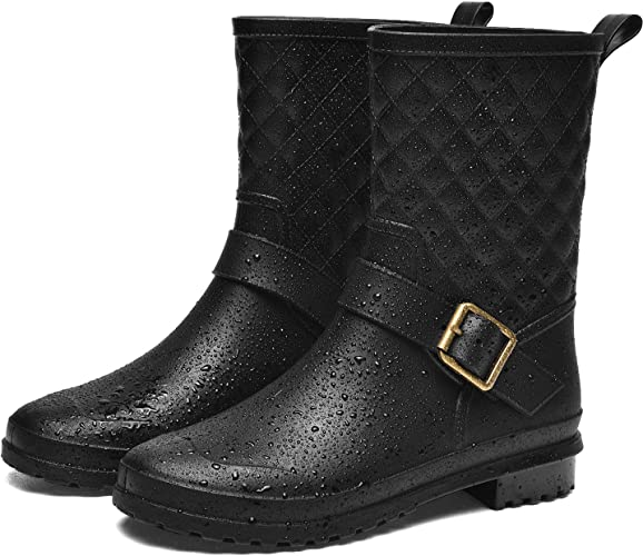 ALLENSKY Women's Mid Calf Rain Boots Waterproof Lightweight Garden Rain Shoes with Ankle Strap Buckle