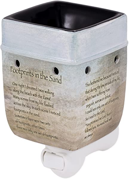 Elanze Designs Footprints In The Sand Ceramic Stoneware Electric Plug In Outlet Wax And Oil Warmer