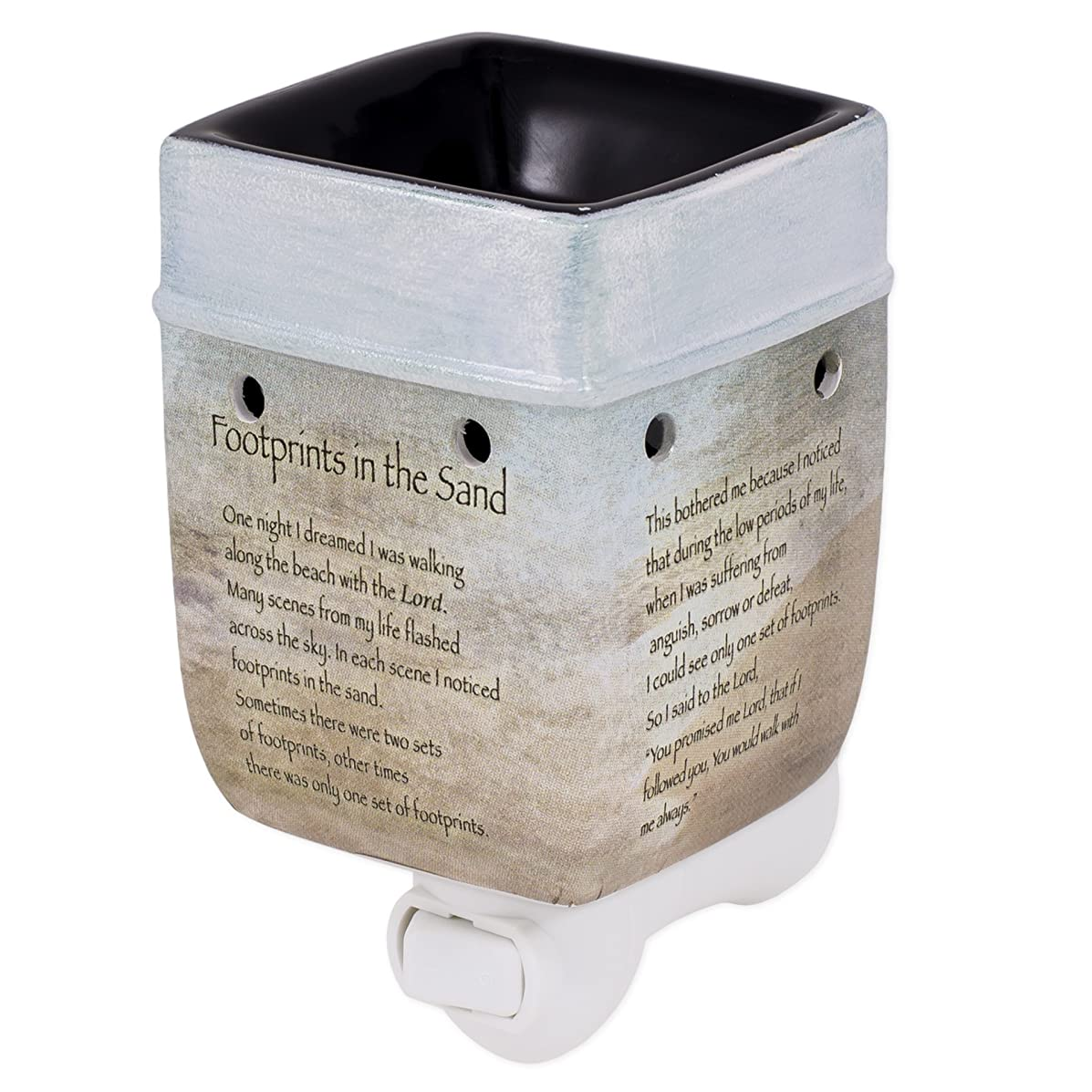Elanze Designs Footprints in The Sand Ceramic Stoneware Electric Plug-in Outlet Wax and Oil Warmer