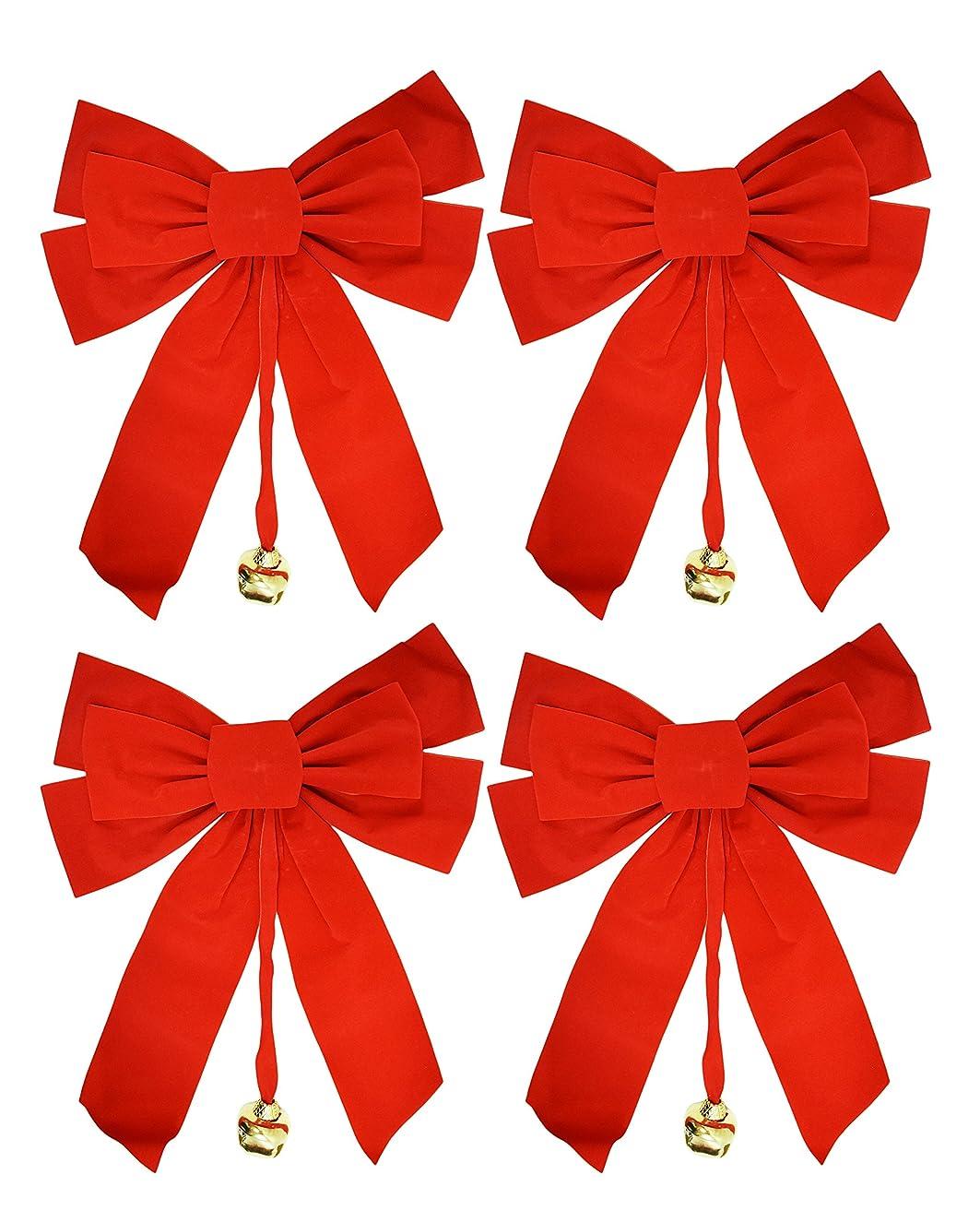 2, 4, 8 or 12 Large Red Velvet Christmas Bows 10