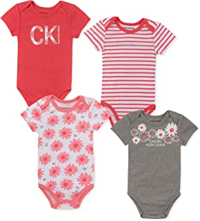 Calvin Klein Baby-Girls 4 Pieces Pack Bodysuits Rompers - Multi