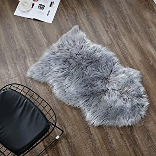 OJIA Faux Sheepskin Fur Rug Soft Fluffy Carpets Chair Couch Cover Seat Area Rugs for Bedroom Sofa Floor Living Room(2 x 3ft, Grey)