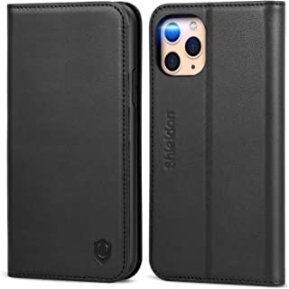 SHIELDON iPhone 11 Pro Max Case, Genuine Leather Wallet Case Flip Magnetic Cover RFID Blocking Card Slots Holder Kickstand Shockproof Case Compatible with iPhone 11 Pro Max (6.5-inch) - Black