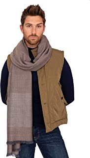 likemary Mens Merino Wool Blanket Scarf Oversize Muffler & Travel Wrap Handwoven in Twill with Stripes 100 x 200cm