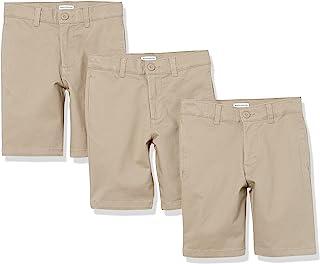 Amazon Essentials Boys' Uniform Big Woven Flat-Front Khaki Shorts