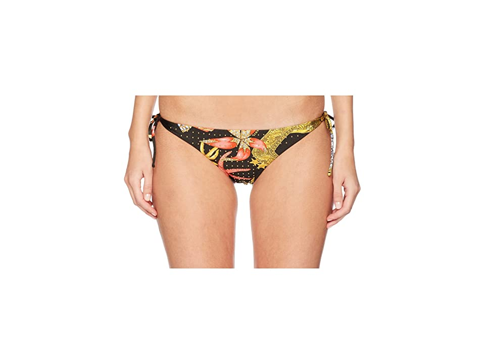 Versace Tanga Tresor De La Mer Gold Studs Bikini Bottoms (Nero) Women