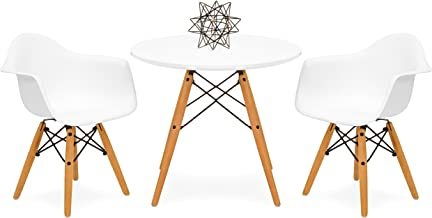 Best Choice Products Kids Mid-Century Modern Mini Eames Style Multifunctional Round Table Set for Bedroom, Playroom, Dining Room w/ 2 Wood Leg Chairs, White