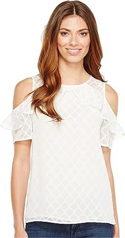 Short Sleeve Ruffled Cold Shoulder Diamond Clip Blouse