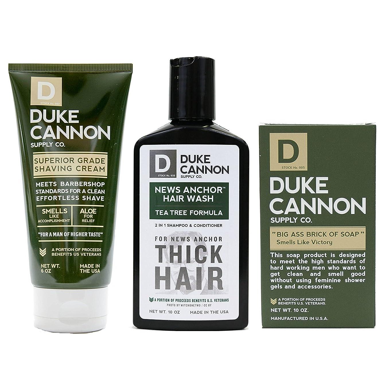 有名な暴君ワンダーMens Duke Cannon Grooming Bundle of 3 products; 1 6oz Superior Grade Shaving Cream, 1 10 oz Smells Like Victory Soap Bar, 1 Hard-working 2-in-1 Hair Wash by Duke Cannon