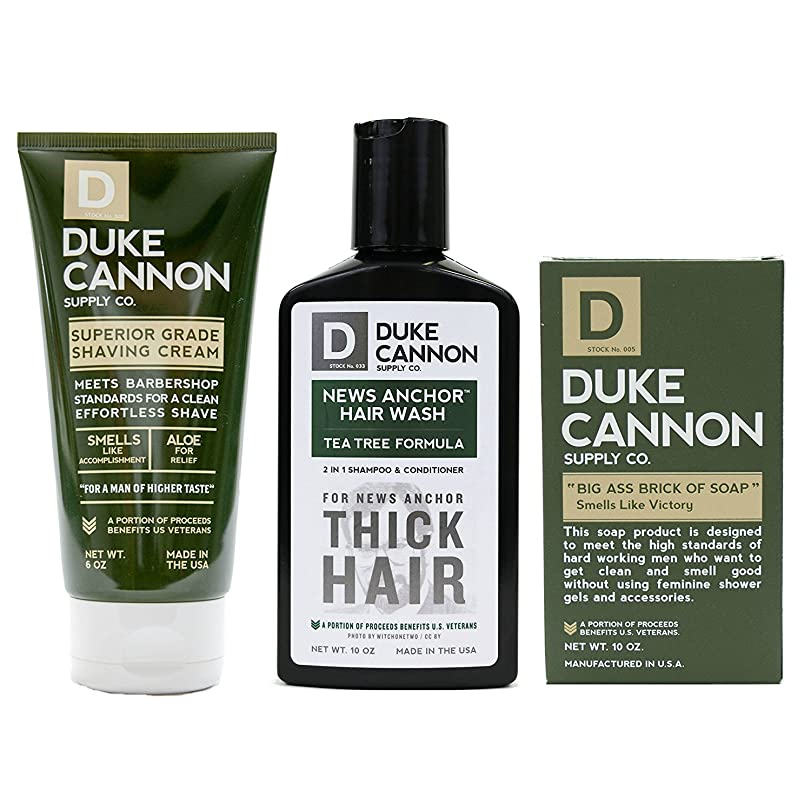 ボーナス毛布発見するMens Duke Cannon Grooming Bundle of 3 products; 1 6oz Superior Grade Shaving Cream, 1 10 oz Smells Like Victory Soap Bar, 1 Hard-working 2-in-1 Hair Wash by Duke Cannon