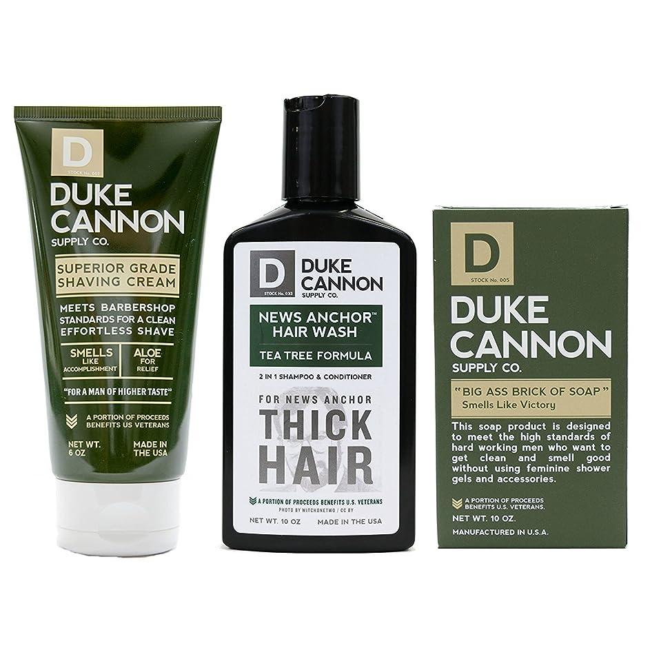 家主長いです不定Mens Duke Cannon Grooming Bundle of 3 products; 1 6oz Superior Grade Shaving Cream, 1 10 oz Smells Like Victory Soap Bar, 1 Hard-working 2-in-1 Hair Wash by Duke Cannon