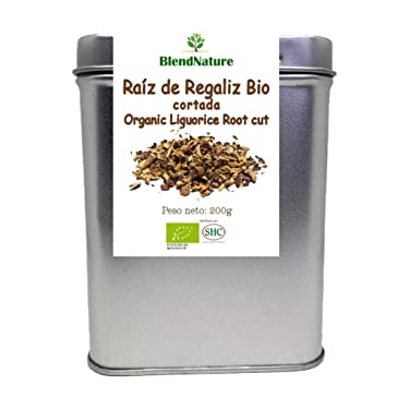 Regaliz de Palo Cortado para infusiones BIO – Raiz 100% Natural - Lata 200 g Maxima Frescura y Conservacion – Certificacion Ecologica – Ideal para Te de Regaliz.