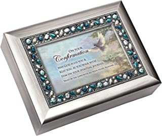On Your Confirmation Day Brushed Silver Finish Jeweled Lid Jewelry Music Box Plays Tune Eagles